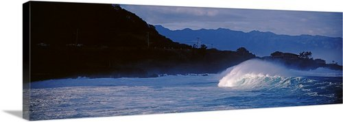 GreatBIGCanvas ''High Tide In The ocean, Waimea Bay, Haleiwa, Oahu, Hawaii'' Photographic Print with Black Frame, 48'' x 16'' by greatBIGcanvas