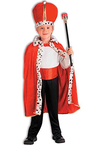 [Royal King Red Robe and Crown Child Medium Set Costume Accessory] (King Robe & Crown Set Adult)