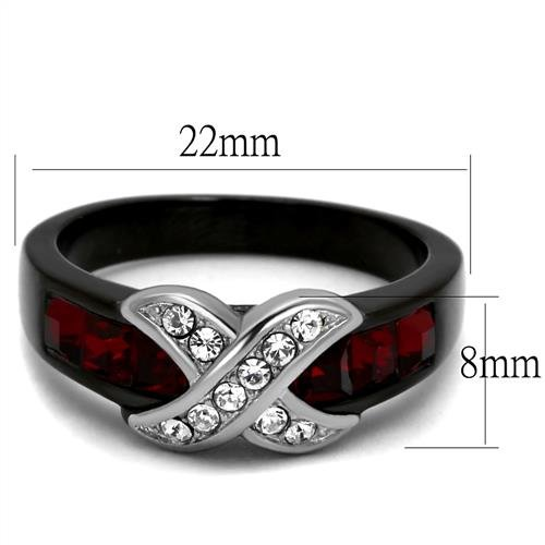 1.5ct Ruby Red /& Clear Cz Black Stainless Steel x Cross Ring Sizes 5,6,7,8,9 /& 10