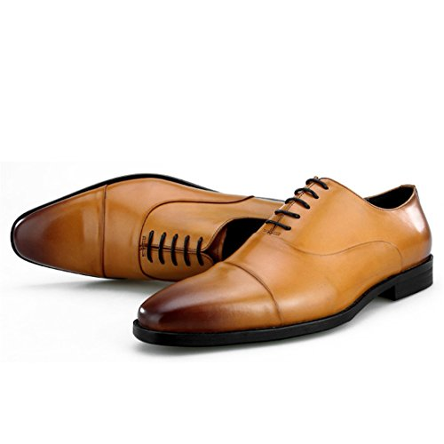Mens Casual Work Lace-up Classic Multicolor Leather Vintage Oxford Shoes W2833-1 Brown KKHy4