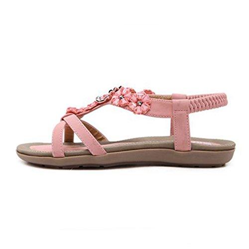 Rose Strass Forme Femmes Fleurs de Plate pour Sandales Bohème Summer élastique Comfort Les Sandales Chaussures Plates Beach wa40Aq