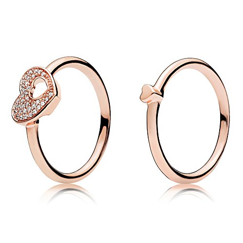 Rose Puzzle Ring (Puzzle Heart Ring Set Rose gold plated 925 Sterling Silver (7))