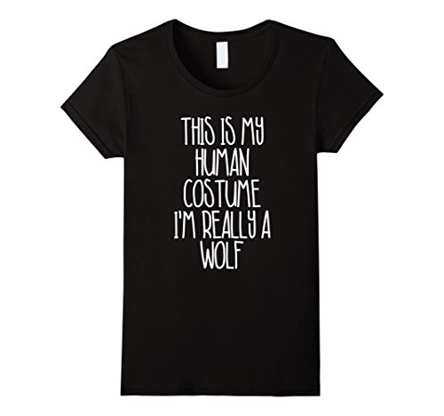 Womens Cute Simple Wolf Halloween Costume Shirt for Girls Boys Men Medium Black