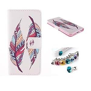 WQQ enchufe del polvo y plumas de colores de cuero de la PU caso de cuerpo completo con ranura para tarjetas y soporte para el iPhone 6