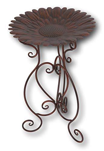 Bird Fancy (Gerson Premium Fancy Metal Birdbath with Antique Bronze Finish ~ Elegant Scrolled Stand (24