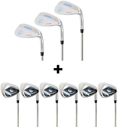 - LAZRUS Premium Forged Golf Wedge Set (52, 56, 60 Degree) + Cast Irons Set for Men (4,5,6,7,8,9) - Great Golf Gift