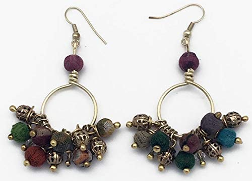 - Anju Aasha Recycled Indian Saris Beaded Cluster Earrings