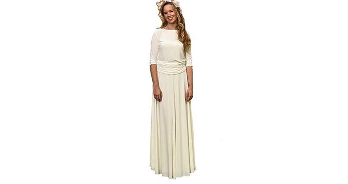 c243dc8cdf Vestido de Novia a Medida Traje de Boda para Mujer Elegante Sencillo Manga  Larga para Ceremonia Civil o Religiosa  Amazon.es  Ropa y accesorios