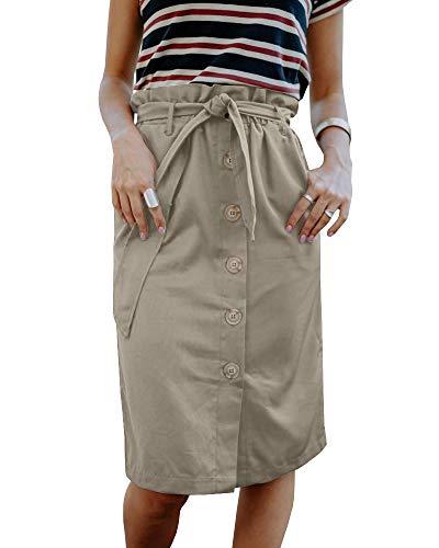 Paper Skirt (Liyuandian Womens Button Skirt Belted High Waisted Paper Bag Waist Skirts with Pockets)