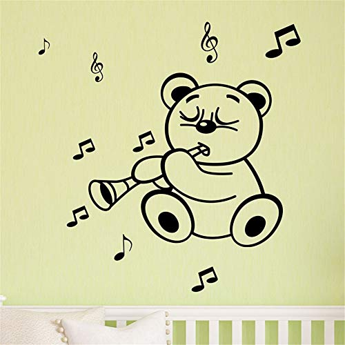 Wall Decal Wall Written Vinyl Wall Decals Quotes Sayings Words Art Deco Lettering Nursery Rhyme Wall Decal Cute Teddy Playing shahnai Wall Sticker for Nursery Kids Room]()