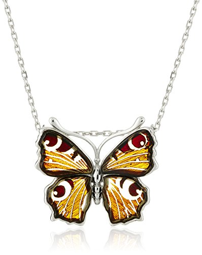 Rhodium Plated Sterling Silver Carved Amber Butterfly Pendant Necklace
