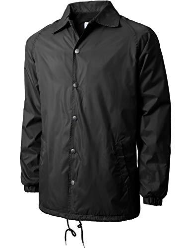 Hat and Beyond Mens Coaches Jackets Waterproof Windbreaker Coat Active Sportswear (4X-Large, 1VW6001_Black)
