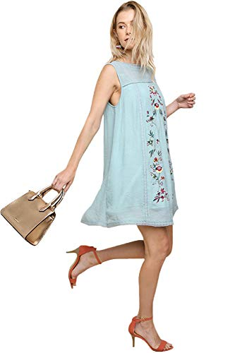 Embroidered Lt Blues Women's Short Tunic Sleeve Bohemian Umgee Dress or 8Ex1a