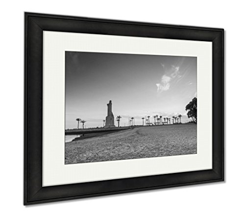 Ashley Framed Prints Discovery Faith Christopher Columbus Monument In Palos De Fronte, Modern Room Accent Piece, Black/White, 34x40 (frame size), Black Frame, AG6376951 by Ashley Framed Prints