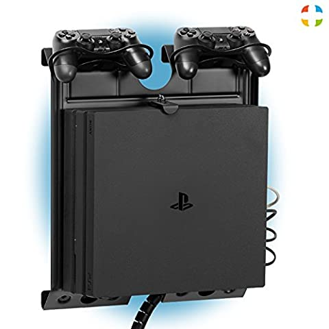 GameSide® Vertical Wall Mount W/ MultiColor LED Light For Gaming Consoles| Metal Floating Wall Mount W/ Controller Mount For PlayStation 3/ 4, X-Box One/ 360, Wii, DVD Players| Black