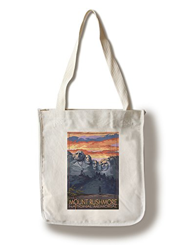 Lantern Press Mount Rushmore National Memorial, South Dakota - Sunset View (100% Cotton Tote Bag - Reusable) ()