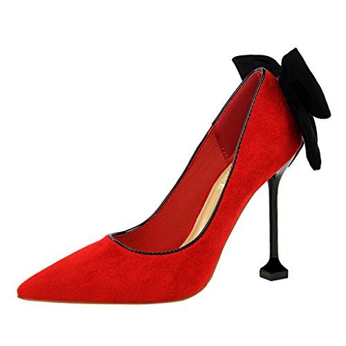ALUK- Damenschuhe - Europa und die Vereinigten Staaten hochhackigen Schuhe sexy Bankett Schuhe Braut Hochzeit Schuhe ( Farbe : Schwarz , größe : 34-Shoes long220mm ) Rot