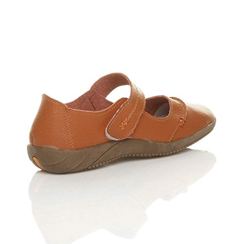 Ajvani Womens ladies full leather comfort hook & loop walking casual sandals shoes size Burnt Orange uPoZ2