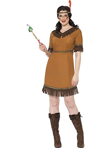 [Smiffy's Women's Indian Maiden Costume with Dress Belt and Headband, Brown, Small] (Indian Costumes For Women)