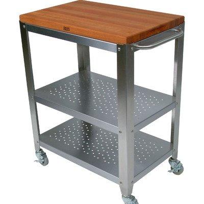 (John Boos Cucina Americana Culinarte Kitchen Cart with Wood Top)