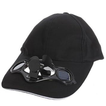 ec4b90e6d Black Solar Powered Air Fan Cooled Baseball Hat Camping Traveling ...