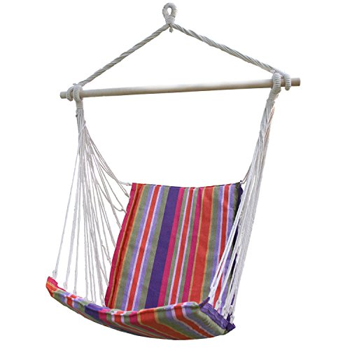 EDECO Cotton Fabric Hanging Hammock Chair With High Back for Indoor & Outdoor (Red)