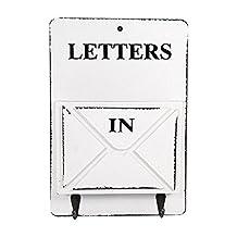 Wooden Mail Box Letter Rack Wall Mounted Mail Sorter Storage Box Key Hooks Standing Holder Organizer Hallway Doorway Hanging Basket Vintage Home Decoration ( Color : White )