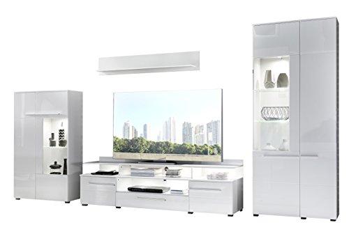 trendteam VIS96301 Wohnwand Kombination Weiß Hochglanz, Stellmaß BxHxT 370 x 193 x 45 cm