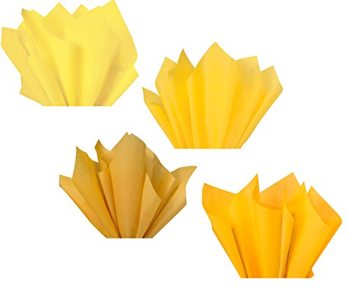 Yellow Lemon Gold Mustard Amber Assorted Colored Multi-Pack Tissue Paper for Flower Pom Poms Art Craft Decor Wedding Bridal Baby Shower Party Gift Bag Basket Filler Decoration ()