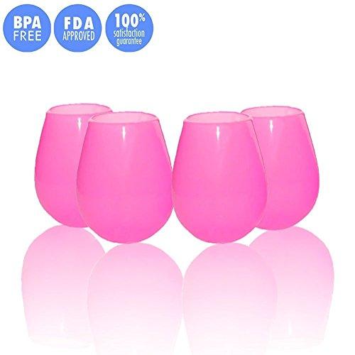 Kuke Set of 4 Unbreakable Silicone Wine Glasses Stemless ...