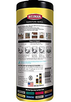 Weiman Wood Cleaner and Polish Wipes - Non-Toxic for Furniture to Beautify and Protect, No Build-Up, Contains Ultra Violet Protection, Pleasant Scent, Surface Safe - 30 Count