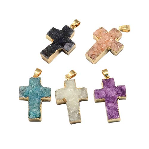 ARRICRAFT 5pcs Plated Natural Druzy Agate Cross Pendants with Gold Brass Clasps for Necklace Earring Jewelry Making