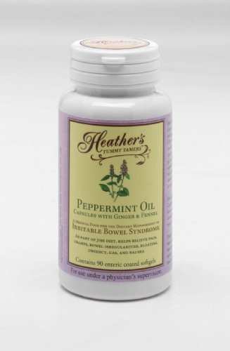 Peppermint Oil Capsules (1 bottle) for Irritable Bowel Syndrome ~ Heather's Tummy Tamers