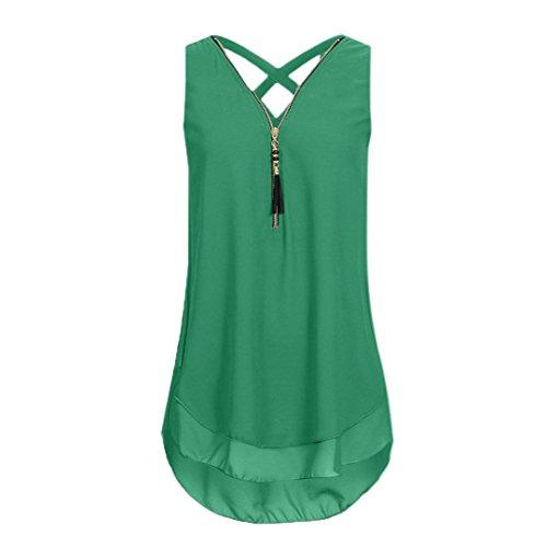 (vermers Women Tank Top Loose Sleeveless Cross Back Hem Layed Zipper V-Neck T Shirts Tops (S, Army Green))