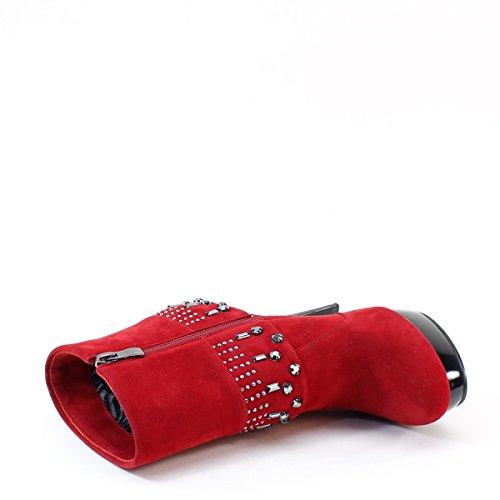 Marque Nouvelle Dame Solide Plate-forme Cloutée Haut Talon Cheville Bottes Rouge Rouge