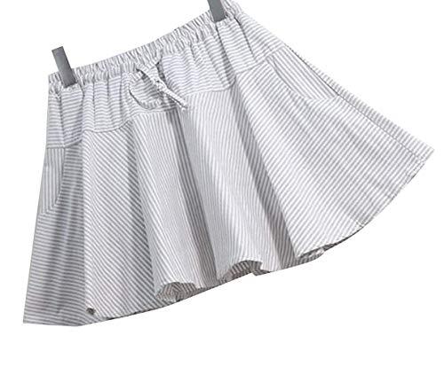 Short A Mini Skirt Pleated Line Summer Skater Bubble Stripe ()