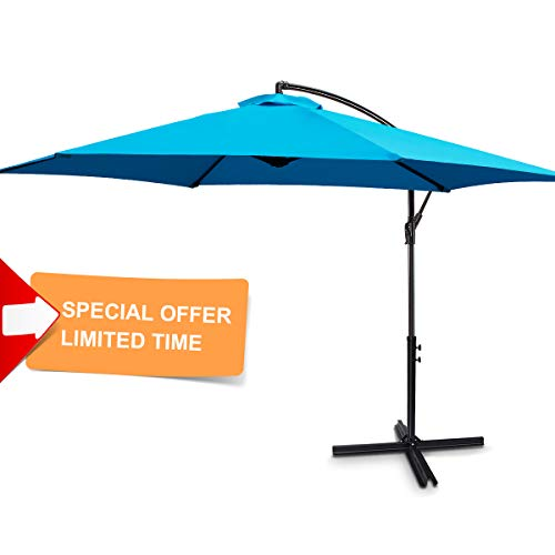 FRUITEAM 10-ft Offset Hanging Umbrellas, Outdoor Patio Garden Umbrellas| Large Market Umbrella with Crank & Cross Base, Waterproof UV Protection Offset Cantilever Umbrella, Blue ()