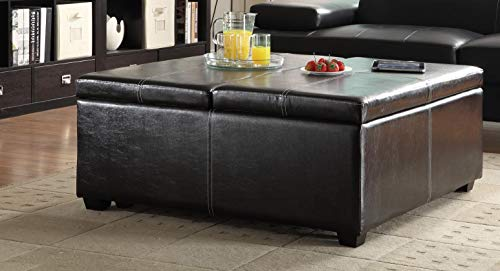Benzara BM180191 Lift Top Storage Cocktail Ottoman with Leather Upholstery, Dark Brown