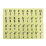 ULTNICE 1Pc Piano Stickers for Keyboard 61, 54, 49 Keys Musical Notation Stickers