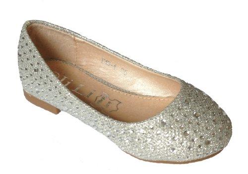 100180 Hübsche Mädchen Glitzer Ballerinas mit Strass Steinchen, Silber