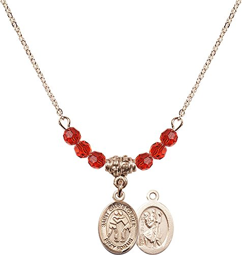 18-Inch Hamilton Gold Plated Necklace with 4mm Ruby Birthstone Beads and Gold Filled Saint Christopher/Wrestling Charm. by F A Dumont