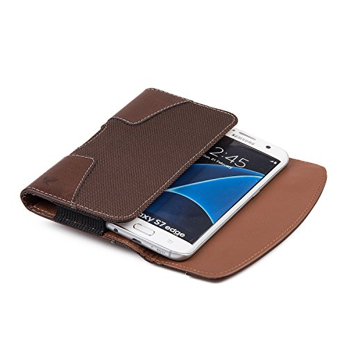 2 Pack iNNEXT iPhone 8 Plus Pouch Case, Premium Horizontal Leather Case Pouch Holster with Magnetic Closure with Belt Clip Holster and Belt Loops for iPhone 7 Plus/6S Plus 5.5 inch (Brown/Black) by iNNEXT (Image #2)