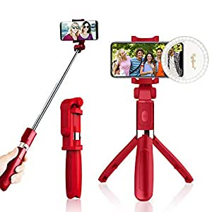 Selfie Stick Tripod, Raphycool Aluminum Extendable Monopod with Tripod Stand Detachable Bluetooth Shutter Remote for iPhone 6 7 8 Plus iPhone x, Samsung Galaxy, Huawei-Pink