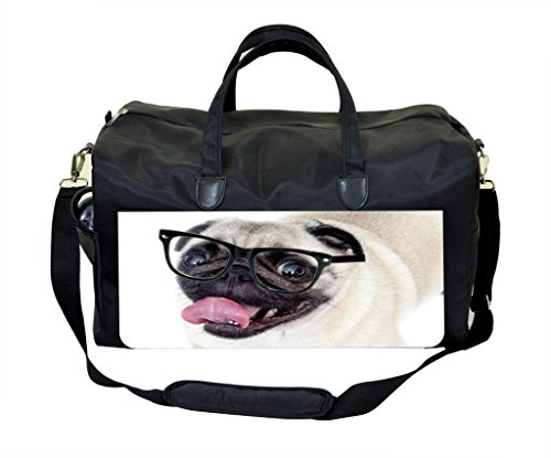 Hipster Pug PU Leather and Suede Weekender Bag