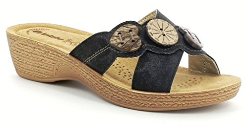 INBLU sandali, ciabatte donna ART. GL-03 zeppa nero LINEA BENESSERE
