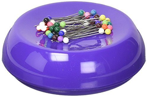 Grabbit Magnetic Sewing Pincushion with 50 Plastic Head Pins, Purple - Round Tone Clip