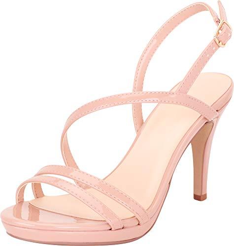 Cambridge Select Women's Open Toe Strappy Slingback Platform Stiletto High Heel Dress Sandal,7 B(M) US,Mauve Patent PU - High Heel Slingbacks