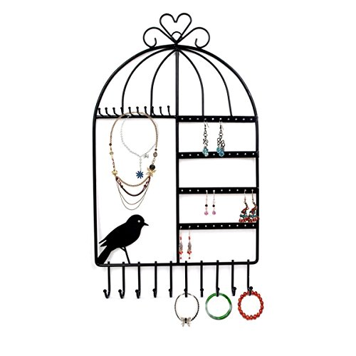 Rbenxia Birdcage Shape Wall Mount Jewelry Organizer Hanging Earring Holder Necklace Jewelry Display Stand Rack Black Inspired Birdcage Earring Holder Organizer Hanger Display Stand