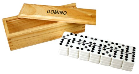 Double 9 Dominoes w/spinners in Wooden Box - 55 tournament size (Clarity Tile)