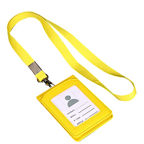(wuliLINL Heavy Duty ID Card Badge Holder Clear Vertical PU Leather ID Badge Card Holder Wallet Case with Cards Slot and Neck (Yellow))